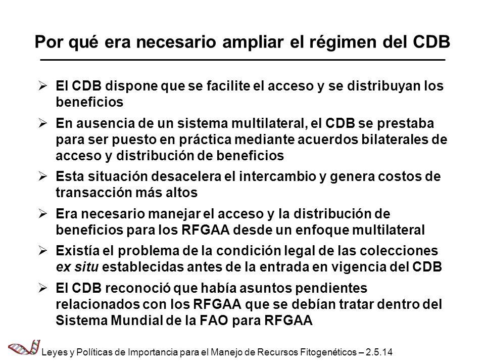 Por qué era necesario ampliar el régimen del CDB El CDB dispone que se facilite el acceso y se distribuyan los beneficios En ausencia de un sistema mu