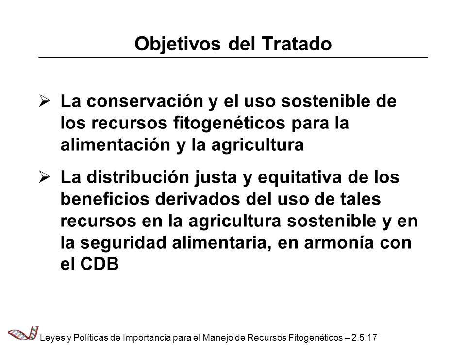 Objetivos del Tratado La conservación y el uso sostenible de los recursos fitogenéticos para la alimentación y la agricultura La distribución justa y