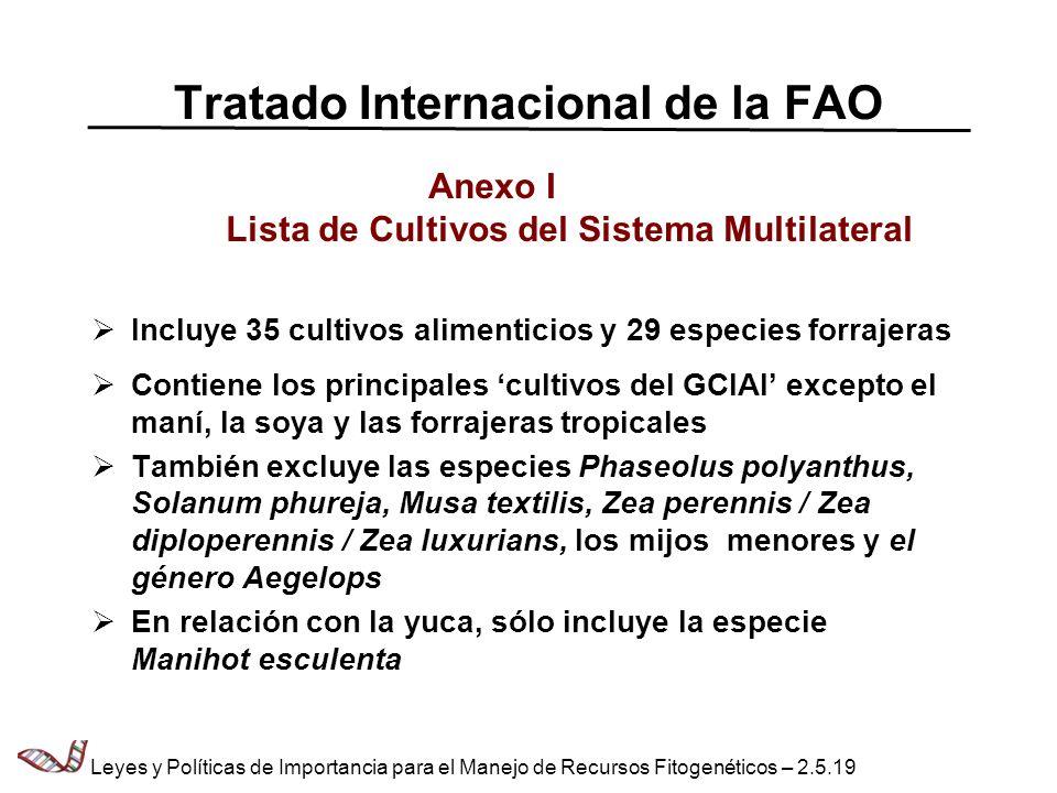 Tratado Internacional de la FAO Anexo I Lista de Cultivos del Sistema Multilateral Incluye 35 cultivos alimenticios y 29 especies forrajeras Contiene