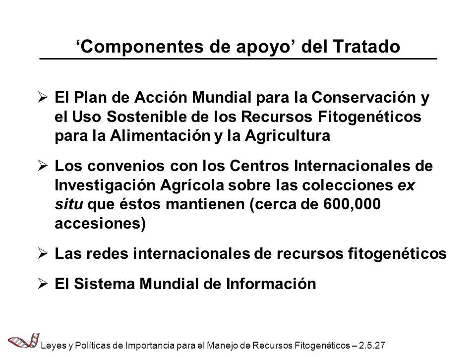 Componentes de apoyo del Tratado El Plan de Acción Mundial para la Conservación y el Uso Sostenible de los Recursos Fitogenéticos para la Alimentación