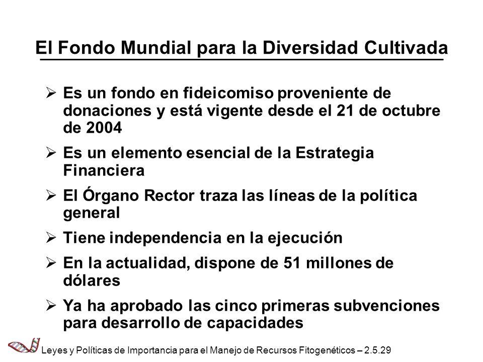 El Fondo Mundial para la Diversidad Cultivada Es un fondo en fideicomiso proveniente de donaciones y está vigente desde el 21 de octubre de 2004 Es un