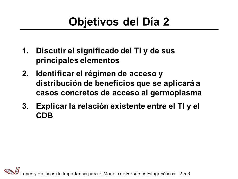 Objetivos del Día 2 1.Discutir el significado del TI y de sus principales elementos 2.Identificar el régimen de acceso y distribución de beneficios qu