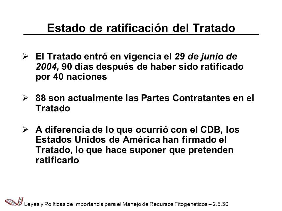 Estado de ratificación del Tratado El Tratado entró en vigencia el 29 de junio de 2004, 90 días después de haber sido ratificado por 40 naciones 88 so