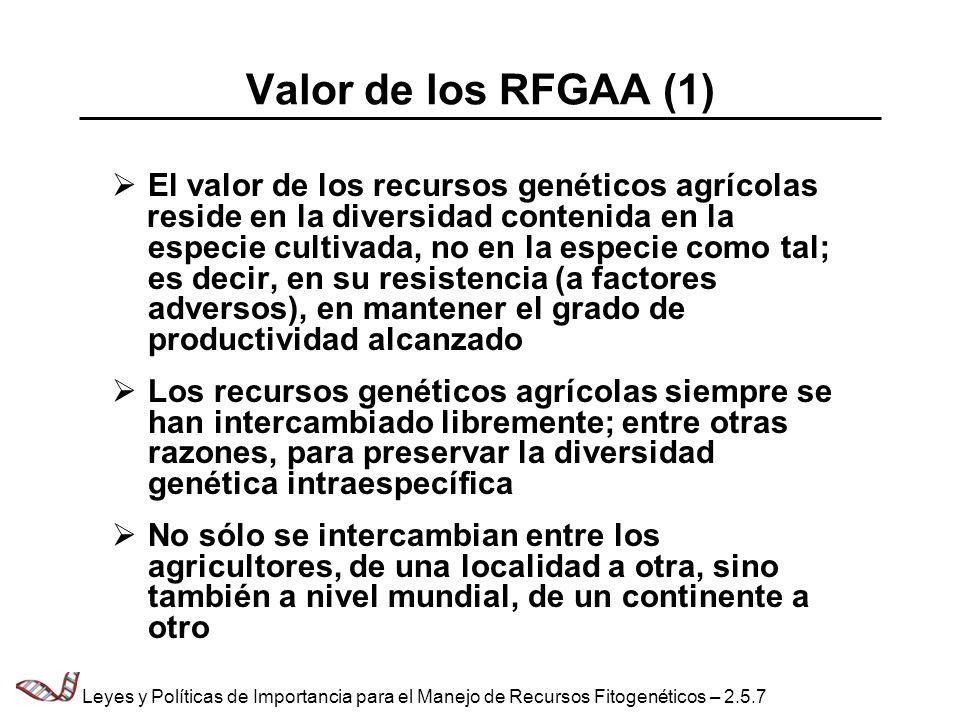 Valor de los RFGAA (1) El valor de los recursos genéticos agrícolas reside en la diversidad contenida en la especie cultivada, no en la especie como t