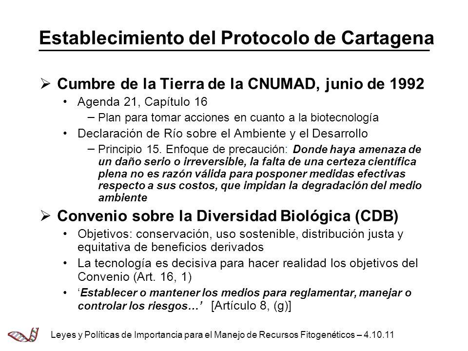 Establecimiento del Protocolo de Cartagena Cumbre de la Tierra de la CNUMAD, junio de 1992 Agenda 21, Capítulo 16 Plan para tomar acciones en cuanto a