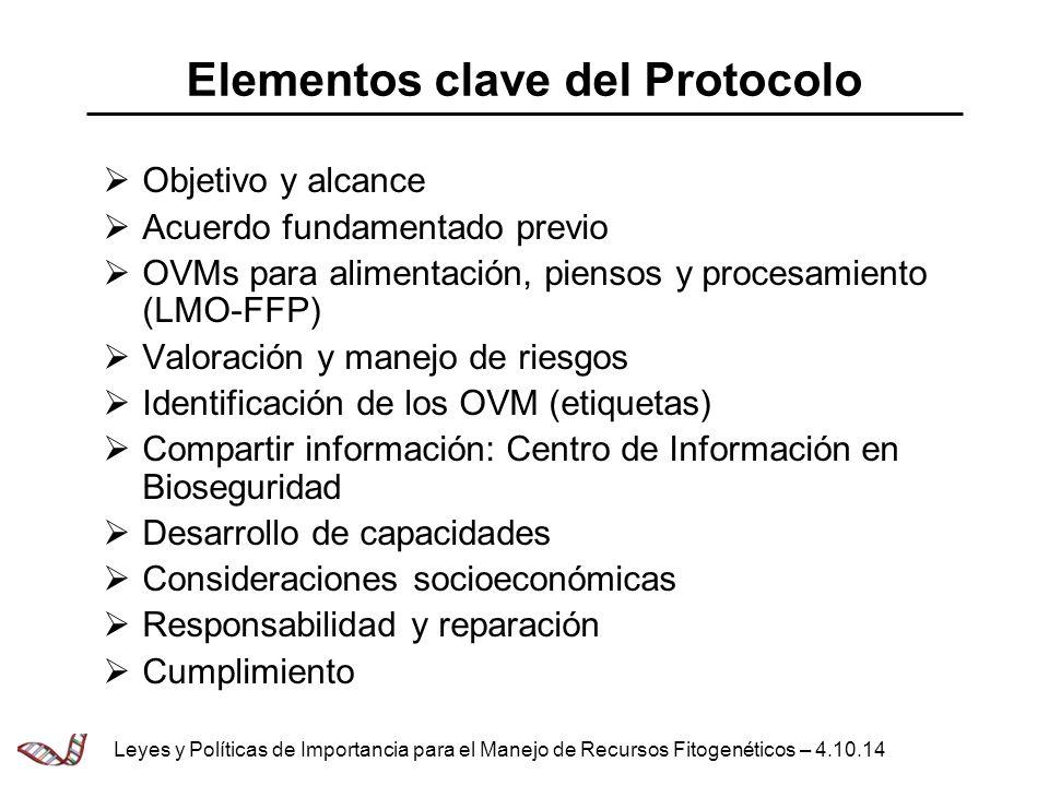 Elementos clave del Protocolo Objetivo y alcance Acuerdo fundamentado previo OVMs para alimentación, piensos y procesamiento (LMO-FFP) Valoración y ma