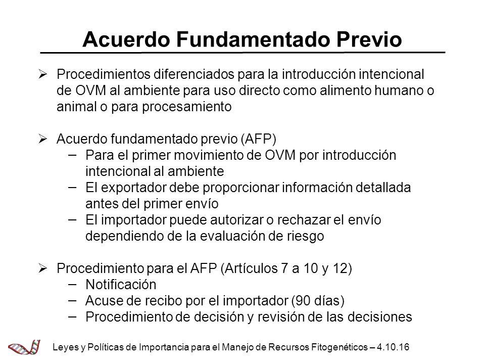 Acuerdo Fundamentado Previo Procedimientos diferenciados para la introducción intencional de OVM al ambiente para uso directo como alimento humano o a
