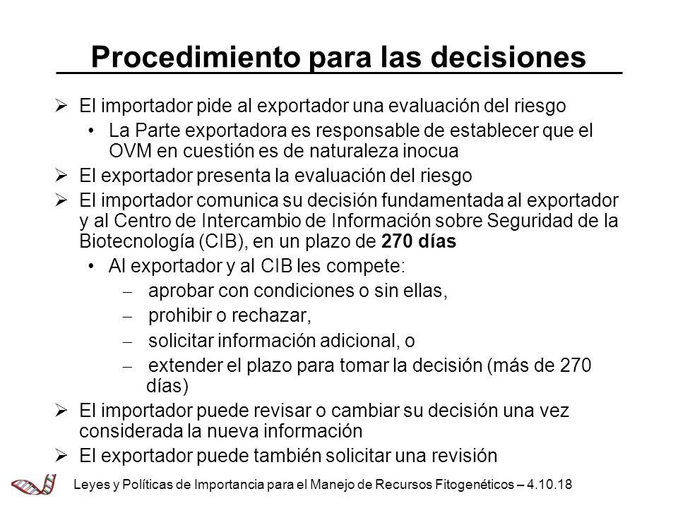 Procedimiento para las decisiones El importador pide al exportador una evaluación del riesgo La Parte exportadora es responsable de establecer que el