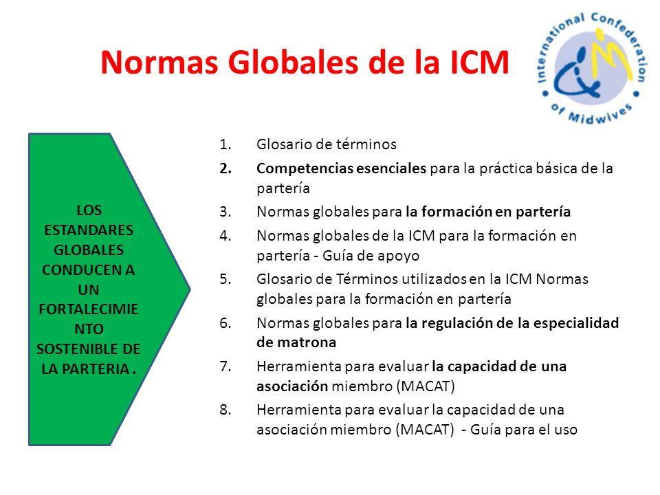 Normas Globales de la ICM 1.Glosario de términos 2.Competencias esenciales para la práctica básica de la partería 3.Normas globales para la formación