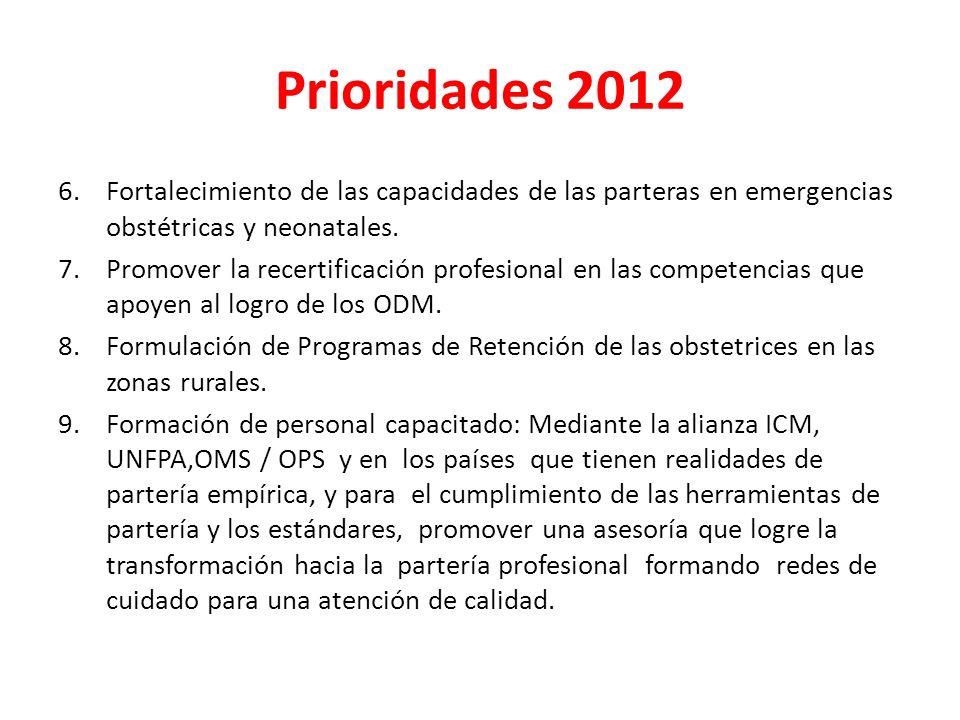 Prioridades 2012 6.Fortalecimiento de las capacidades de las parteras en emergencias obstétricas y neonatales. 7.Promover la recertificación profesion