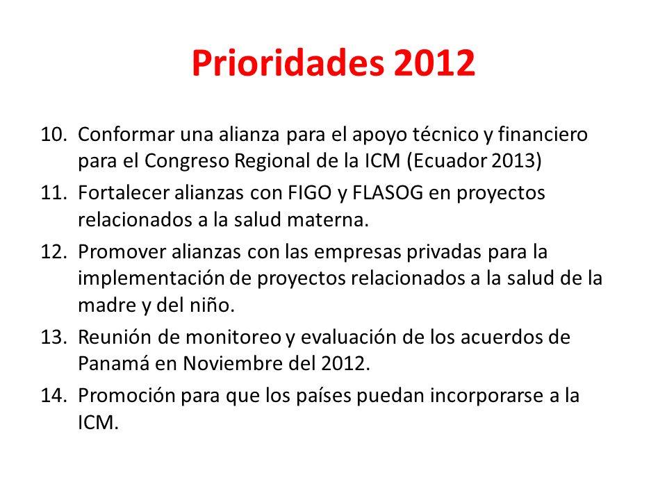 10.Conformar una alianza para el apoyo técnico y financiero para el Congreso Regional de la ICM (Ecuador 2013) 11.Fortalecer alianzas con FIGO y FLASO