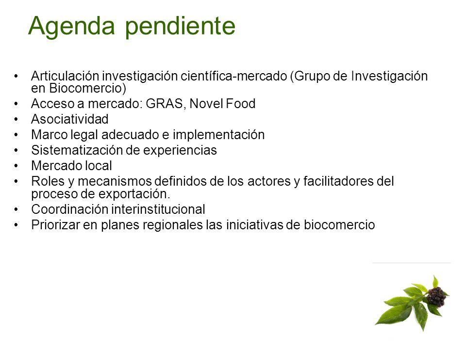 Agenda pendiente Articulación investigación científica-mercado (Grupo de Investigación en Biocomercio) Acceso a mercado: GRAS, Novel Food Asociativida