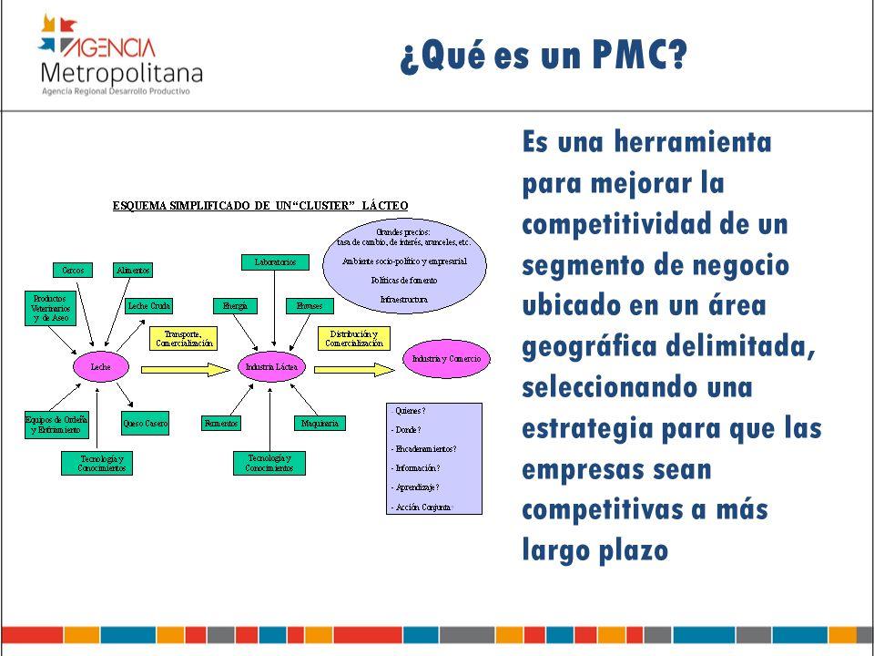 ¿Qué es un PMC? Es una herramienta para mejorar la competitividad de un segmento de negocio ubicado en un área geográfica delimitada, seleccionando un