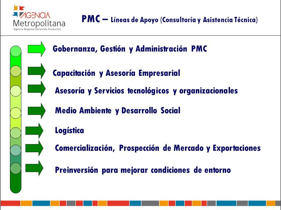 PMC – Líneas de Apoyo (Consultoría y Asistencia Técnica) Gobernanza, Gestión y Administración PMC Capacitación y Asesoría Empresarial Asesoría y Servi