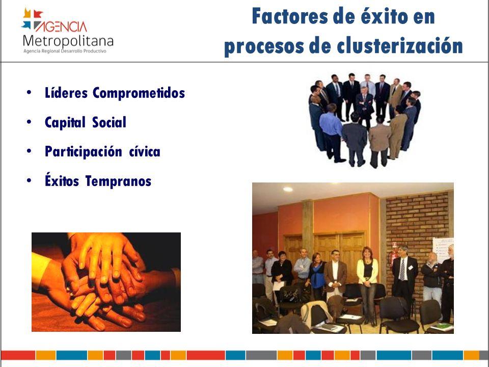 Líderes Comprometidos Capital Social Participación cívica Éxitos Tempranos Factores de éxito en procesos de clusterización