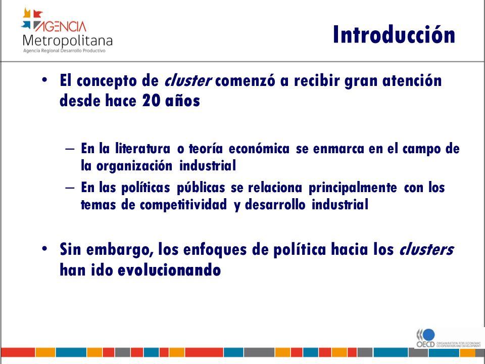 Introducción El concepto de cluster comenzó a recibir gran atención desde hace 20 años – En la literatura o teoría económica se enmarca en el campo de