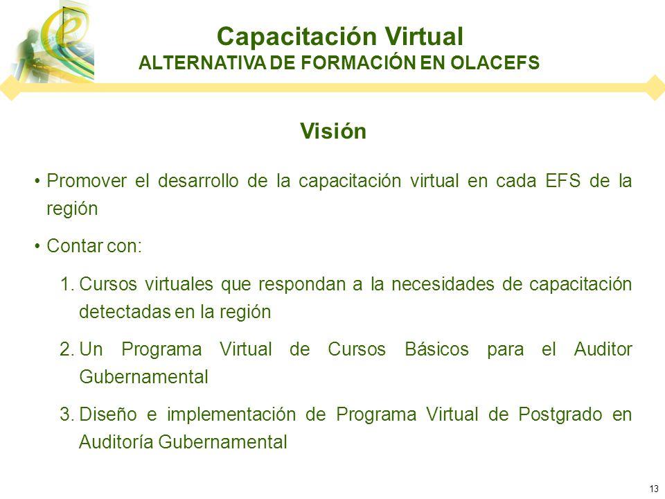 13 Visión Promover el desarrollo de la capacitación virtual en cada EFS de la región Contar con: 1.Cursos virtuales que respondan a la necesidades de capacitación detectadas en la región 2.Un Programa Virtual de Cursos Básicos para el Auditor Gubernamental 3.Diseño e implementación de Programa Virtual de Postgrado en Auditoría Gubernamental Capacitación Virtual ALTERNATIVA DE FORMACIÓN EN OLACEFS