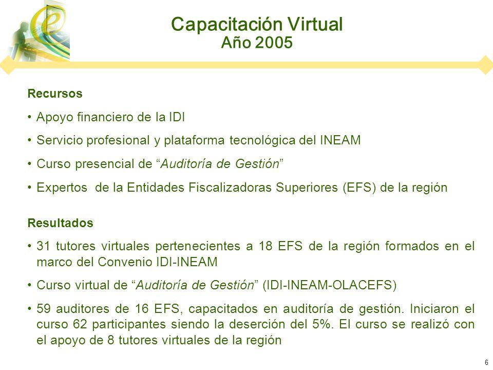 6 Capacitación Virtual Año 2005 Recursos Apoyo financiero de la IDI Servicio profesional y plataforma tecnológica del INEAM Curso presencial de Auditoría de Gestión Expertos de la Entidades Fiscalizadoras Superiores (EFS) de la región Resultados 31 tutores virtuales pertenecientes a 18 EFS de la región formados en el marco del Convenio IDI-INEAM Curso virtual de Auditoría de Gestión (IDI-INEAM-OLACEFS) 59 auditores de 16 EFS, capacitados en auditoría de gestión.