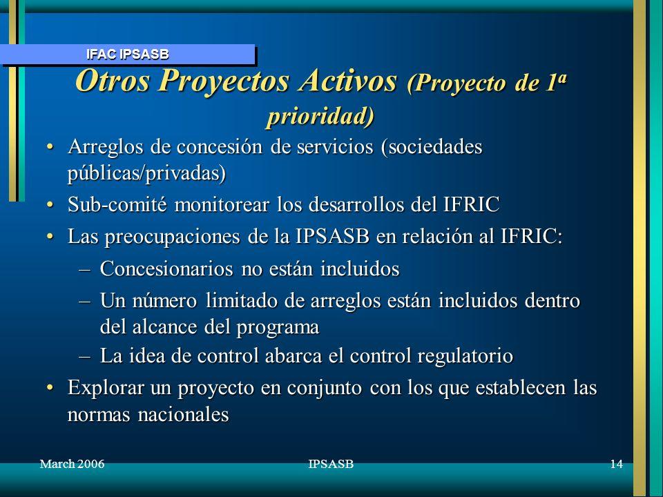 IFAC IPSASB March 200615IPSASB Otros Proyectos Activos (Proyecto de 1 a prioridad) Aplicabilidad de la IAS 19 al sector público - divulgar ED al final del 06Aplicabilidad de la IAS 19 al sector público - divulgar ED al final del 06 Activos de herenciaActivos de herencia El marco conceptual para el Sector PúblicoEl marco conceptual para el Sector Público –Considerar la estrategia de la IPSASB marzo –Sub-comité monitorear el proyecto IABS Perjudicar los activos que generan efectivo (basado en IAS 36)Perjudicar los activos que generan efectivo (basado en IAS 36)