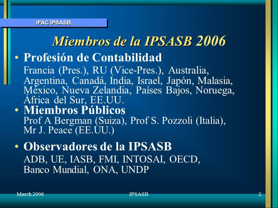 IFAC IPSASB March 20063IPSASB Programa de Trabajo de la IPSASB 3 categorías prioritarias:3 categorías prioritarias: –1a – Problemas específicos del Sector Público (incluso problemas de base de caja e de acumulación) –2a – Continuar la convergencia con las IFRS donde convenga –3a – Convergencia con bases estadísticas donde convenga Límites actuales de recursos perjudican algunos aspectos del programa.Límites actuales de recursos perjudican algunos aspectos del programa.