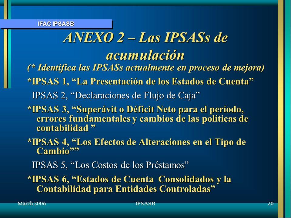 IFAC IPSASB March 200621IPSASB ANEXO 2 –Las IPSASs de Acumulación (cont.) *IPSAS 7, La Contabilidad de inversiones en Entidades Asociadas *IPSAS 8, Informes Financieros de intereses en Joint Ventures IPSAS 9, Ingresos de Transacciones de Cambio IPSAS 9, Ingresos de Transacciones de Cambio IPSAS 10, Los Informes en Economías Hiperinflacionarias IPSAS 10, Los Informes en Economías Hiperinflacionarias IPSAS 11, Contratos de Construcción IPSAS 11, Contratos de Construcción *IPSAS 12, Inventarios