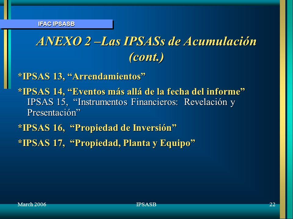 IFAC IPSASB March 200623IPSASB ANEXO 2 –Las IPSASs de Acumulación (cont.) IPSAS 18, Informes por Segmento IPSAS 19, Provisiones, Pasivos Contingentes y Activos Contingentes IPSAS 20, Revelación de Parte Relacionada IPSAS 21, Perjucio de Activos que no Generan Caja