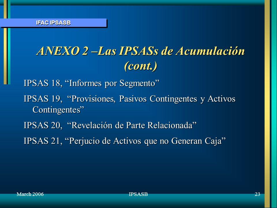 IFAC IPSASB March 200623IPSASB ANEXO 2 –Las IPSASs de Acumulación (cont.) IPSAS 18, Informes por Segmento IPSAS 19, Provisiones, Pasivos Contingentes