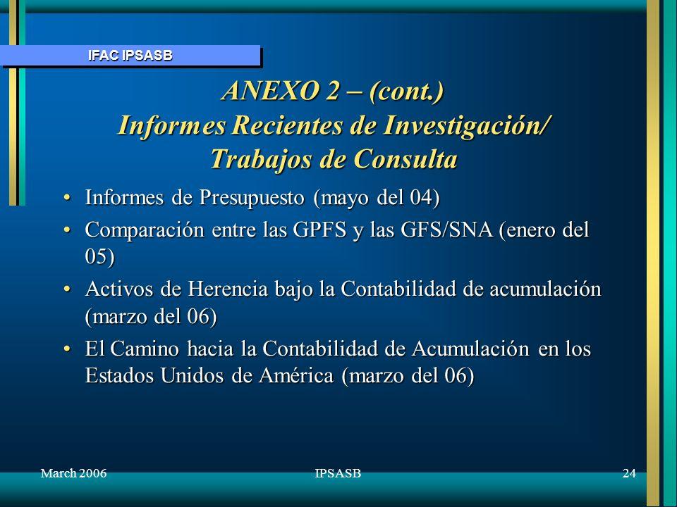 IFAC IPSASB March 200624IPSASB ANEXO 2 – (cont.) Informes Recientes de Investigación/ Trabajos de Consulta Informes de Presupuesto (mayo del 04)Inform