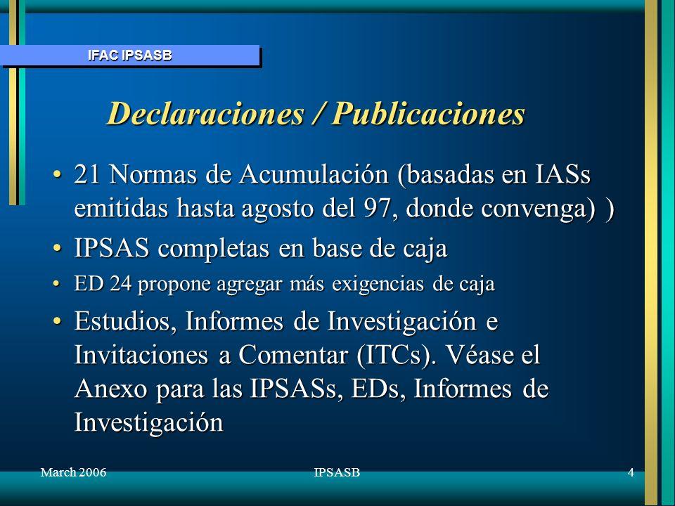 IFAC IPSASB March 20065IPSASB Borradores de Exposición (ED) sobre cuestiones específicas ED 24Asistencia Externa en base de caja-comentarios 15 junio 05 ED 25 Enmienda al Prefacio de las IPSASs (hasta 31 ene 06) ED 26 Mejoras de las IPSASs (hasta 31 ene 06) ED 27 La presentación de información presupuestaria en estados de cuenta (hasta 10 feb 06) ED 28 Revelación de información financiera sobre el sector general del gobierno (hasta 10 feb 06) ED 29 Ingresos de transacciones no de cambio (incluso impuestos y transferencias) (hasta 30 junio 06) (incluso impuestos y transferencias) (hasta 30 junio 06) Siguen algunos detalles