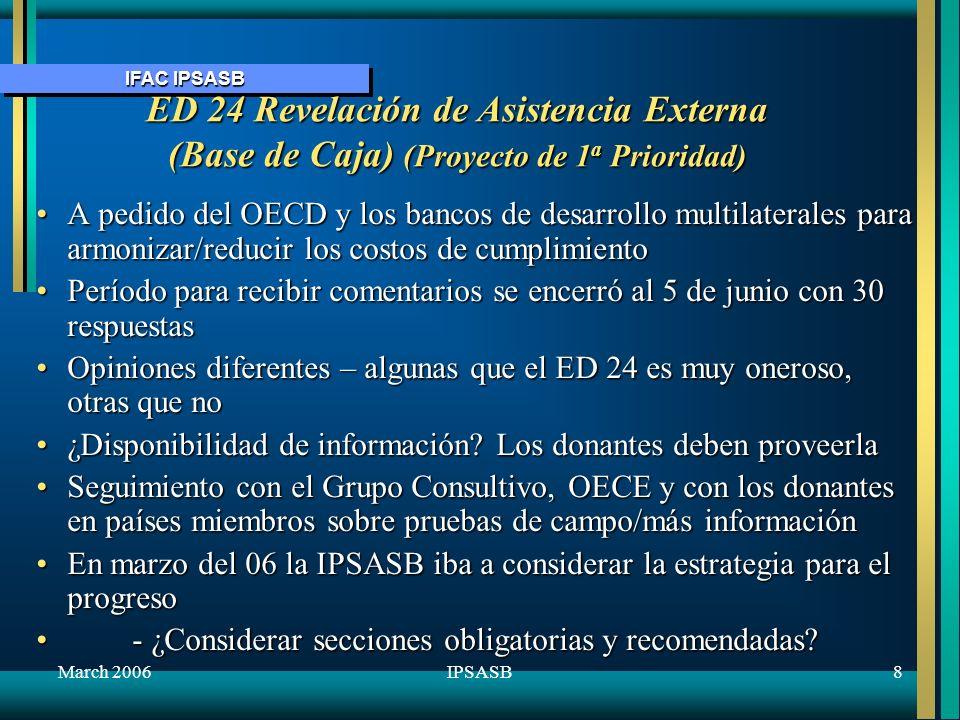 IFAC IPSASB March 20069IPSASB ED 25&26 – Mejoras a las IPSASs (proyecto de 2 a prioridad ) Emitido em septiembre del 05 para comentario hasta 31 ene 06 ED 25 – Letras negras y grises deben tener autoridad igual ED 26ED 25 – Letras negras y grises deben tener autoridad igual ED 26 - Mejorar 11 IPSASs.- Mejorar 11 IPSASs.