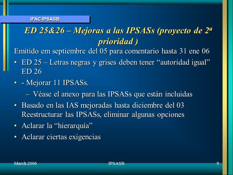 IFAC IPSASB March 200610IPSASB ED 27 La presenstación de información presupuestaria en los Estados de Cuenta (Proyecto de 1 a prioridad ) Se aplica a las entidades del sector público a que se les exija que divulgen públicamente sus presupuestos aprobados.