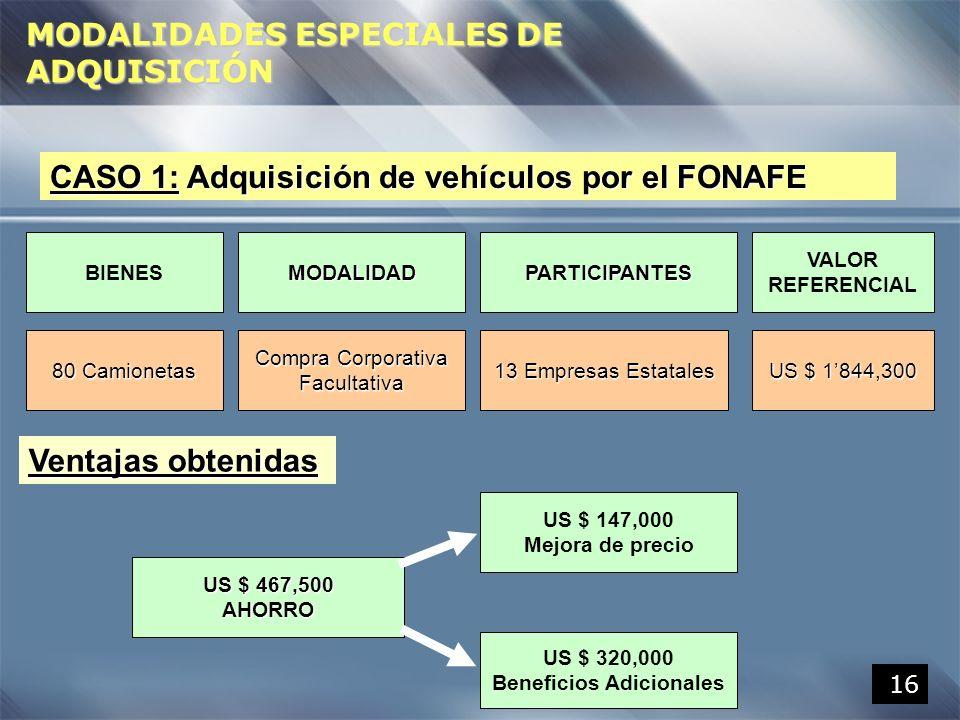 16 CASO 1: Adquisición de vehículos por el FONAFE 80 Camionetas PARTICIPANTESMODALIDADBIENES VALOR REFERENCIAL 13 Empresas Estatales Compra Corporativ