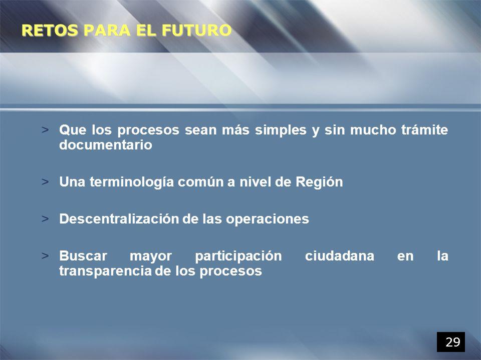 29 RETOS PARA EL FUTURO >Que los procesos sean más simples y sin mucho trámite documentario >Una terminología común a nivel de Región >Descentralizaci