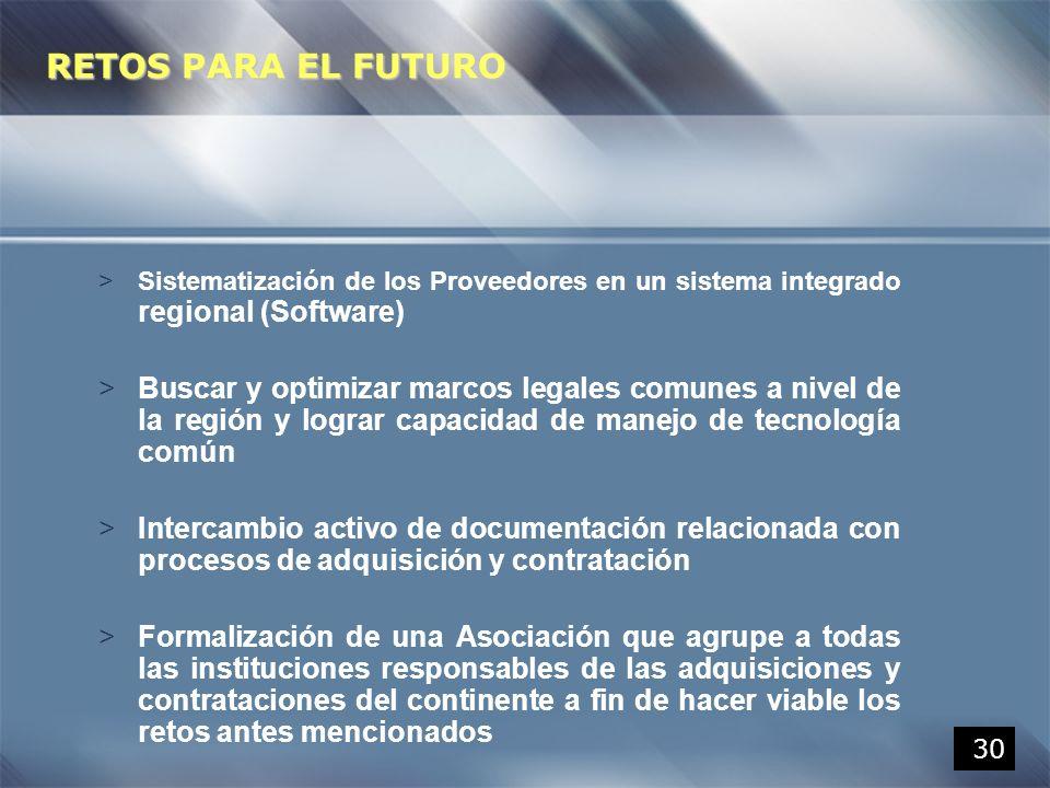 30 >Sistematización de los Proveedores en un sistema integrado regional (Software) >Buscar y optimizar marcos legales comunes a nivel de la región y l