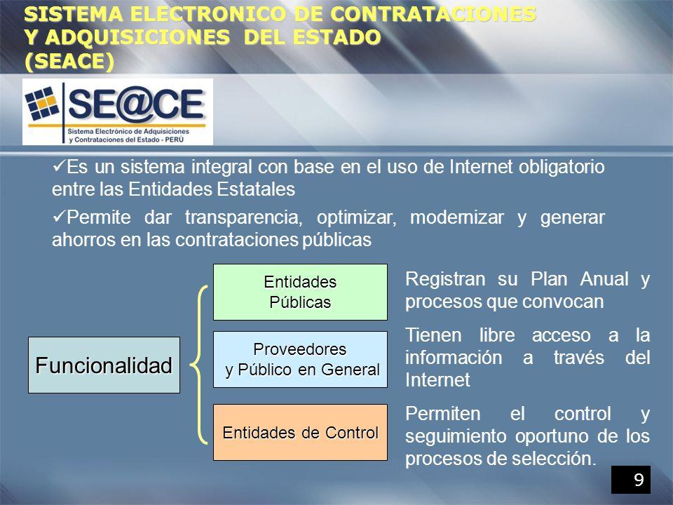 9 SISTEMA ELECTRONICO DE CONTRATACIONES Y ADQUISICIONES DEL ESTADO (SEACE) Es un sistema integral con base en el uso de Internet obligatorio entre las