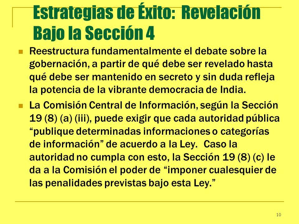 10 Estrategias de Éxito: Revelación Bajo la Sección 4 Reestructura fundamentalmente el debate sobre la gobernación, a partir de qué debe ser revelado