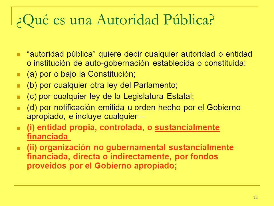 12 ¿Qué es una Autoridad Pública? autoridad pública quiere decir cualquier autoridad o entidad o institución de auto-gobernación establecida o constit