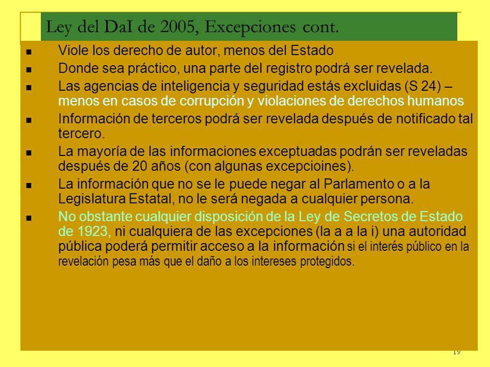 19 Ley del DaI de 2005, Excepciones cont. Viole los derecho de autor, menos del Estado Donde sea práctico, una parte del registro podrá ser revelada.