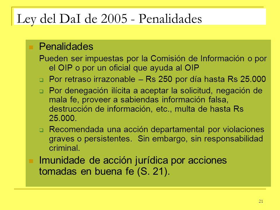 21 Ley del DaI de 2005 - Penalidades Penalidades Pueden ser impuestas por la Comisión de Información o por el OIP o por un oficial que ayuda al OIP Po