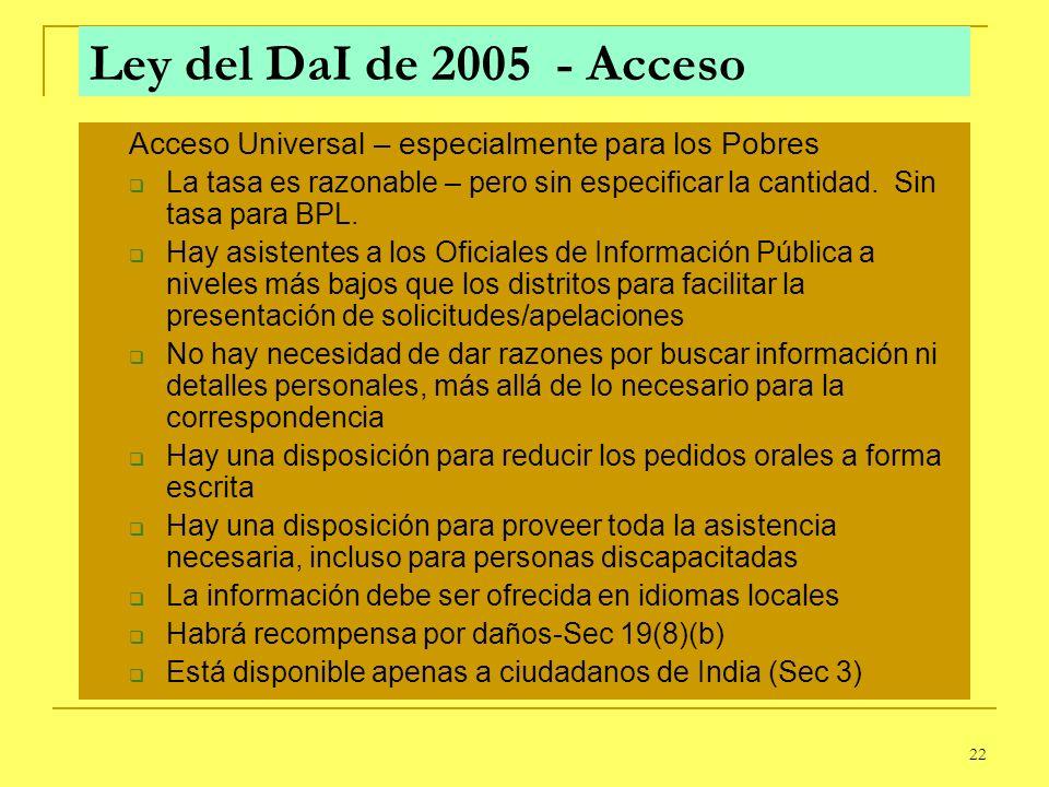 22 Ley del DaI de 2005 - Acceso Acceso Universal – especialmente para los Pobres La tasa es razonable – pero sin especificar la cantidad. Sin tasa par