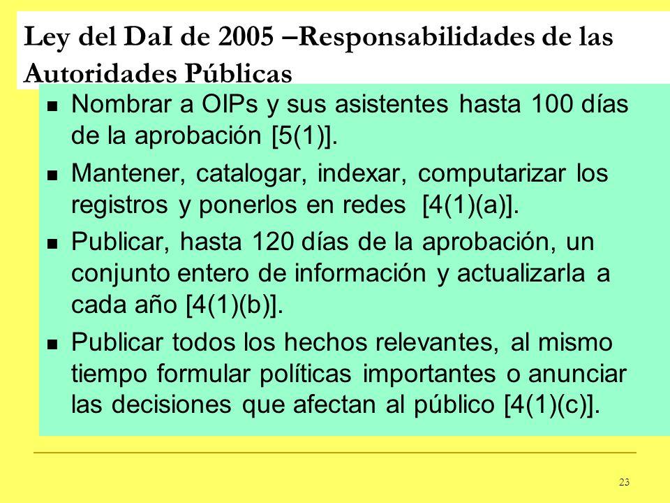 23 Ley del DaI de 2005 –Responsabilidades de las Autoridades Públicas Nombrar a OIPs y sus asistentes hasta 100 días de la aprobación [5(1)]. Mantener
