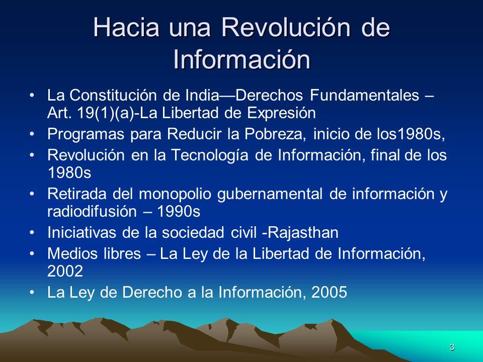 3 Hacia una Revolución de Información La Constitución de IndiaDerechos Fundamentales – Art. 19(1)(a)-La Libertad de Expresión Programas para Reducir l