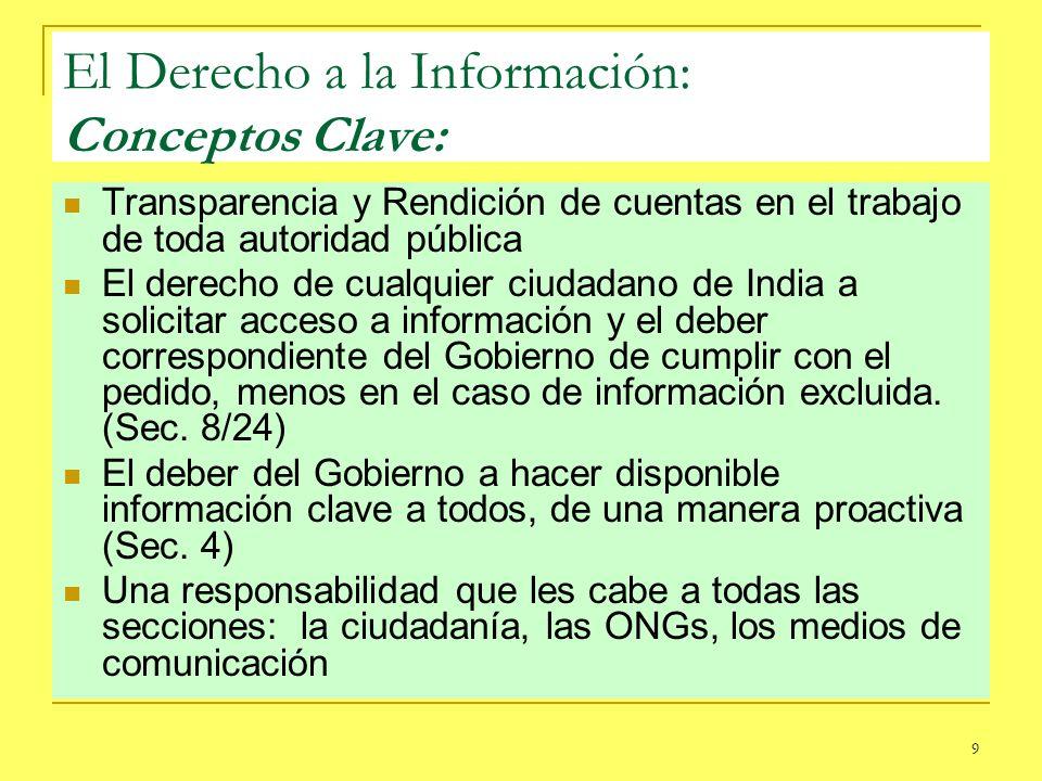 9 El Derecho a la Información: Conceptos Clave: Transparencia y Rendición de cuentas en el trabajo de toda autoridad pública El derecho de cualquier c