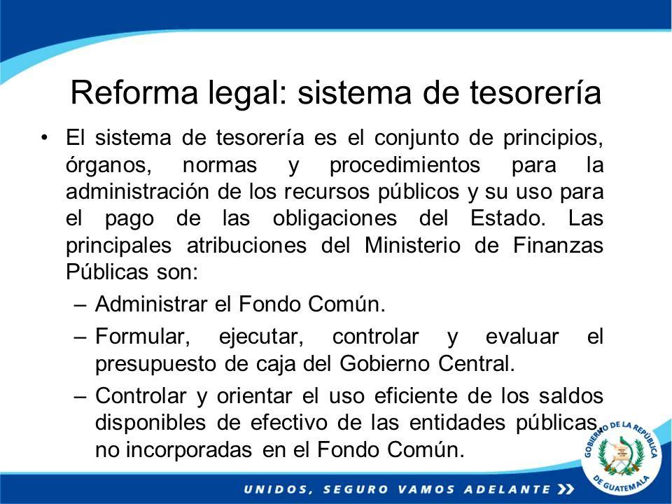 Reforma legal: sistema de tesorería El sistema de tesorería es el conjunto de principios, órganos, normas y procedimientos para la administración de l