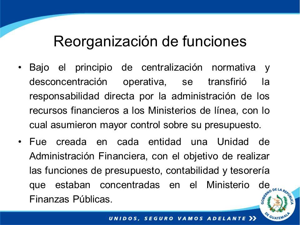 Reorganización de funciones Bajo el principio de centralización normativa y desconcentración operativa, se transfirió la responsabilidad directa por l