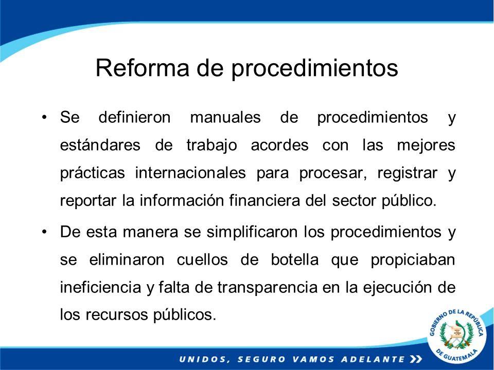 Reforma de procedimientos Se definieron manuales de procedimientos y estándares de trabajo acordes con las mejores prácticas internacionales para proc