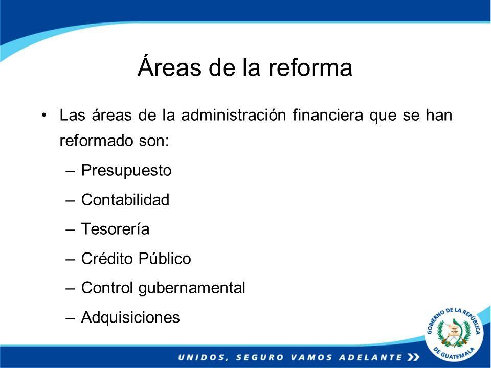 Áreas de la reforma Las áreas de la administración financiera que se han reformado son: –Presupuesto –Contabilidad –Tesorería –Crédito Público –Contro