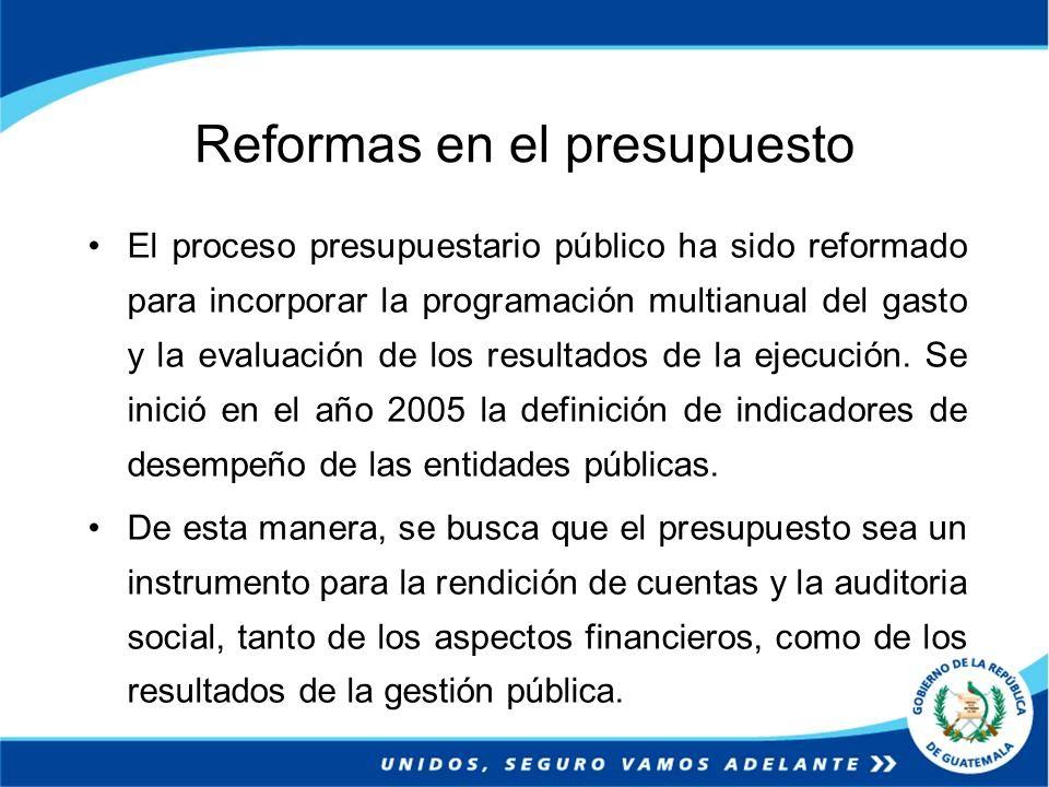 Reformas en el presupuesto El proceso presupuestario público ha sido reformado para incorporar la programación multianual del gasto y la evaluación de