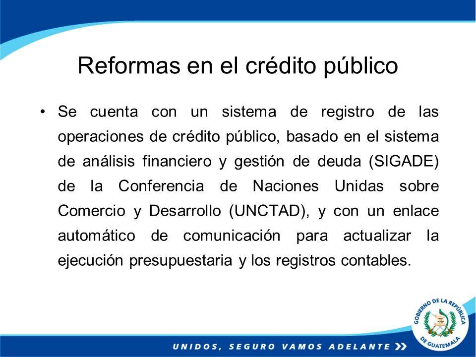 Reformas en el crédito público Se cuenta con un sistema de registro de las operaciones de crédito público, basado en el sistema de análisis financiero