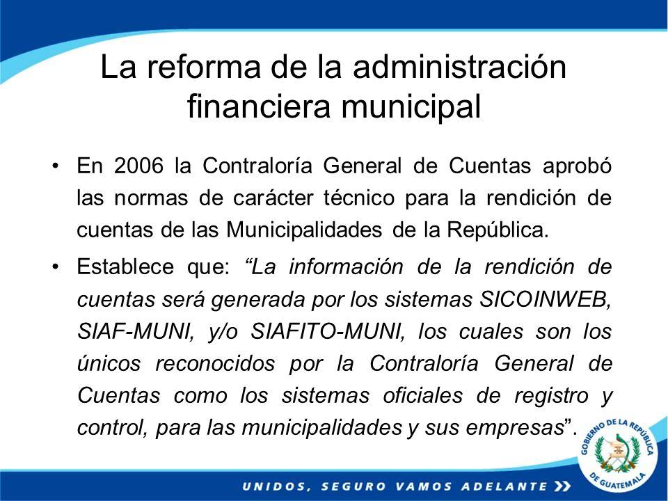 En 2006 la Contraloría General de Cuentas aprobó las normas de carácter técnico para la rendición de cuentas de las Municipalidades de la República. E